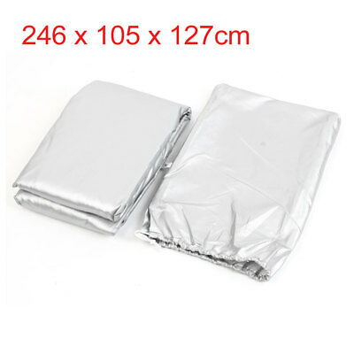 XL Silver Tone Rain Dust Motorcycle Cover Outdoor Waterproof UV Protector