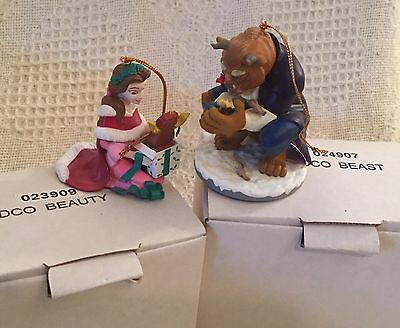 Set 2 Beauty And The Beast Grolier Disney Christmas Ornament Figurines   MIB