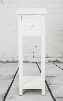 White Bedside Telephone Table With Drawer Side Living Room Slim Tall