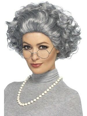Old Lady Grey Wig Gangsta Granny Kit Inc Pearl necklace & Glasses - 01- 44632