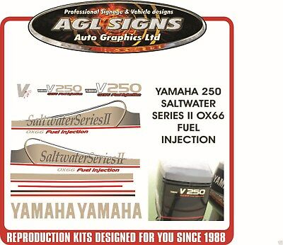 YAMAHA 250 OX66 V6 Saltwater Series II Outboard Decals, Reproductions 200 225
