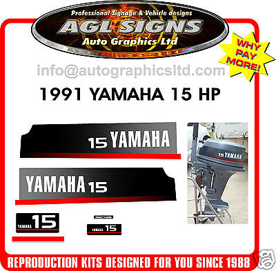 1991 YAMAHA 15 HP Replacement Outboard Decal set