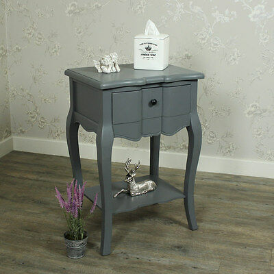 Boudoir Grey Range Bedside Table Shelf lamp table bedroom french country chic