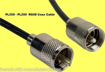 CB PL259 / PL259 60cm patch lead. RG58 cable with soldered and heatshrink plugs