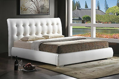 Modern White Faux Leather Tufted Headboard Platform Bed Full, Queen Or King Size