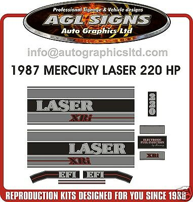 1987 MERCURY LASER XRi 220 HP DECAL KIT , reproductions, outboard