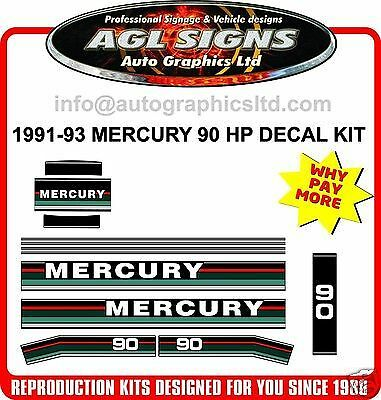 MERCURY 90 hp Outboard Decals 1991 1992 1993  reproductions