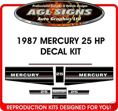 1987 1988 Mercury Marine 25 Decals  Merc Outboard   20 Hp Available