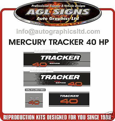MERCURY Tracker 40 DECALS, MERC OUTBOARD  REPRODUCTIONS