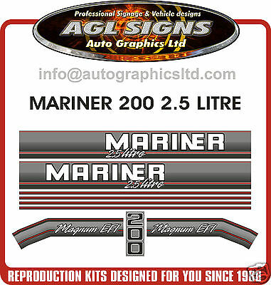 1990's MERCURY MARINER 200 MAGNUM EFI DECALS  2.5 LITRE  REPRODUCTION