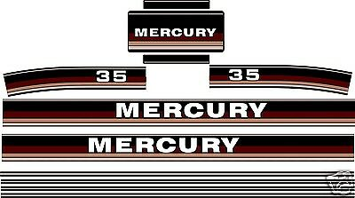 1984 - 1985 MERCURY MARINE 35 hp OUTBOARD DECALS, MERC