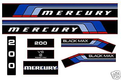 MERCURY MARINE 200 hp V6 DECALS, MERC BLACK MAX 150