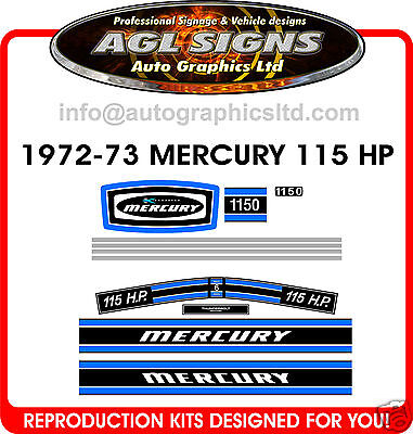 1972 - 73  115 Hp Mercury Outboard Decal Set , 1150 Decals, Merc