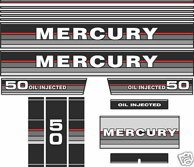 1987 MERCURY 50 OIL INJECTED DECALS  reproductionS