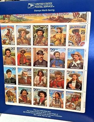 Legends Of The West Recalled Error Stamp Sheet Original USPS Sealed
