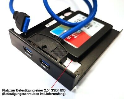 2 Port USB 3.0 HUB 3,5 Zoll intern Superspeed Verteiler Adapter Frontpanel 3,5""