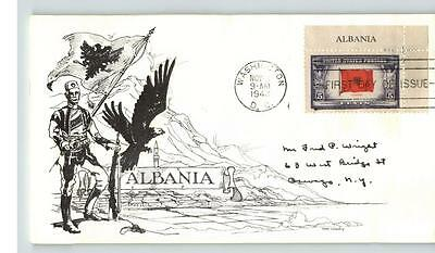 ALBANIA, Overrun Country in World war II, 1943 Day Lowry cachet, First Day of Is