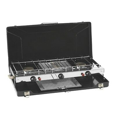 Outwell Appetizer Cooker 3-Burner Stove mit Grill, Campinggrill inkl. Windschutz
