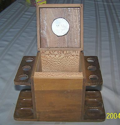 Vintage Antique Wood Humidor / With 6 Pipe Tobacco Holder Dovetail Aztec N.y.