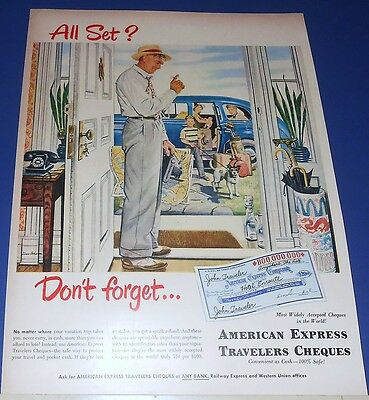 1944 AMERICAN EXPRESS Travelers Cheques Ad Stevan Dohanos vacation packing art