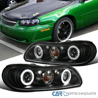 97 03 Chevy Malibu Black Led Halo Projector Headlights Head Lamps Left Right
