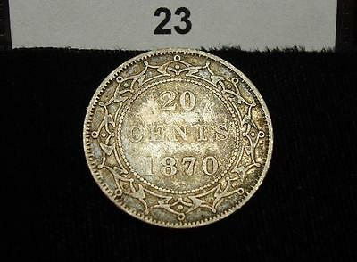 1870 Canada (Newfoundland) 20 Cents, Low Mintage Silver Coin #23