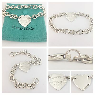 Beautiful Solid Silver Return To Tiffany Heart Tag Bracelet  Rrp £295!