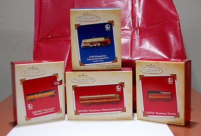 Lot 4 Hallmark Keepsake 2004 Lionel Train Hiawatha Ornaments Locomotive Tender