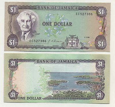 Jamaica 1 Dollar 1-1-1990 Pick 68A UNC Uncirculated Banknote