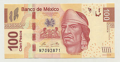 Mexico 100 Pesos 10-1-2012 Pick 124 Serial N UNC Uncirculated Banknote