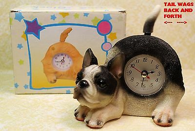 Boston Terrier Puppy Dog Wagging Tail Tabletop Quartz Clock  New In Box!  Dgcfbz
