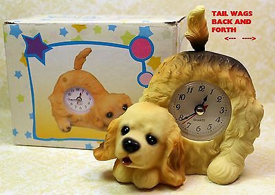 Cocker Spaniel Puppy Dog Wagging Tail Tabletop Quartz Clock  New In Box!  Dgcfbz