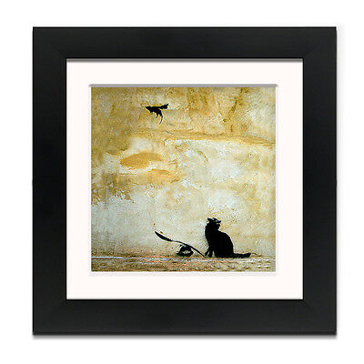 Banksy Cat and Mouse – Street Art – Professionally Framed Square art print wi...