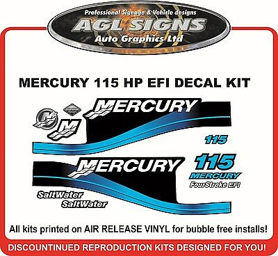 2004 Mercury 115 Hp Fourstroke Efi Saltwater Outboard Decal Kit,