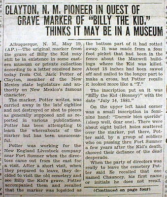 1934 newspaper FT SUMNER New Mexico GRAVE MARKER of outlaw BILLY the KID stolen