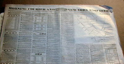 1835 newspaper wEarly detailed map FRANKLIN SQUARE Lower Manhattan NEW YORK CITY