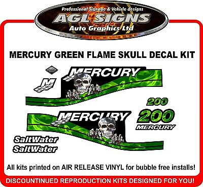 MERCURY 200 hp Saltwater Green Skull Flame Decals 150 175 200 225 250 hp