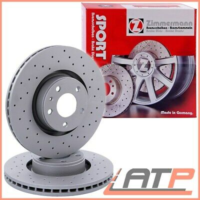 BMW 5 Saloon E60 525d 03//04 Front Brake Discs Black Dimpled Grooved Mintex Pads