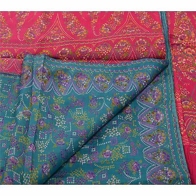 Sanskriti Vintage 100% Pure Silk Saree Blue Floral Printed Sari Craft Fabric