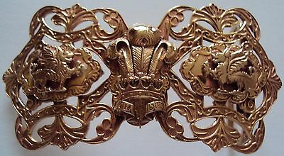 Solid Bronze Welsh Rugby Snap On Belt Buckle with Leather Belt