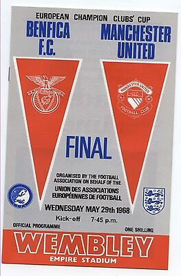 FC Benfica v Manchester United 1968 ECF PROGRAMME - POSTFREE to UK