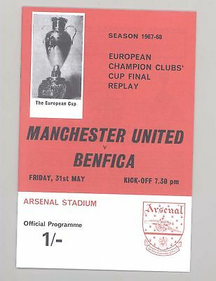 FC Benfica v Manchester United 1968 ECF REPLAY programme - POSTFREE to UK
