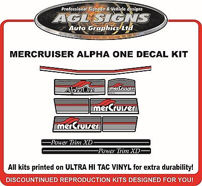 1984 - 1991 Mercury Alpha one Outdrive 9 Piece Decal Kit   Mercruiser