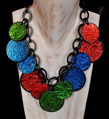 Spectacular Glitter Multi Color Resin Bib Necklace With Discs Charms