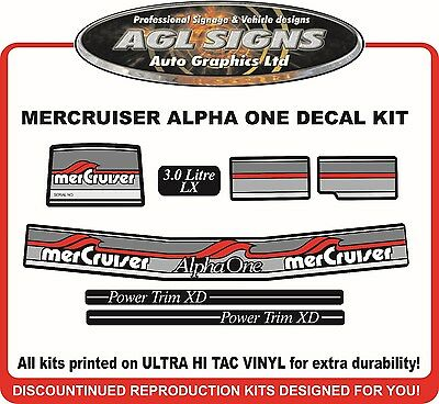 1984 - 1991  Mercury Alpha one 3.0 Litre LX  7 Piece Decal Kit Mercruiser
