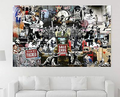 xxl bild banksy collage street art abstrakt canvas ikea 155x95x5 leinwand neu eur 119 00. Black Bedroom Furniture Sets. Home Design Ideas