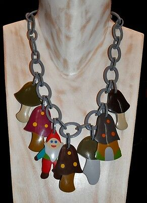 French Designer Multi Color Resin Bib Charm Necklace With Dwarf And Mushrooms