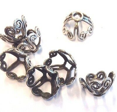 4 x Ornate Loveheart Filigree 10mm Large Sterling Silver Oxidized Bead Caps (205