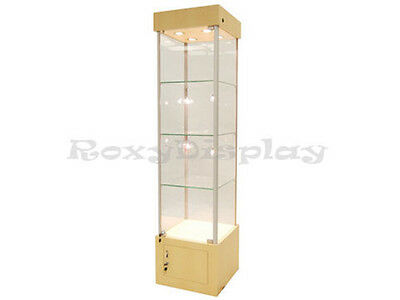Maple Style Tower Display Case Assembled Showcase #WL18M-SC