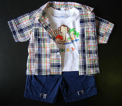 BABY BOY OUTFIT Baby Clothing Suit 3 Piece Set Shirt Top Shorts Age 3-6 Months